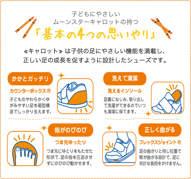 子どもにやさしいムーンスターキャロットの持つ「基本の4つの思いやり」