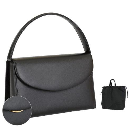 日本製 お受験用 本革ブラックフォーマルバッグ