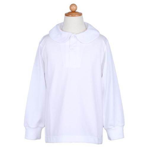 TOYOBO 天竺生地ニット 丸衿長袖ポロシャツ