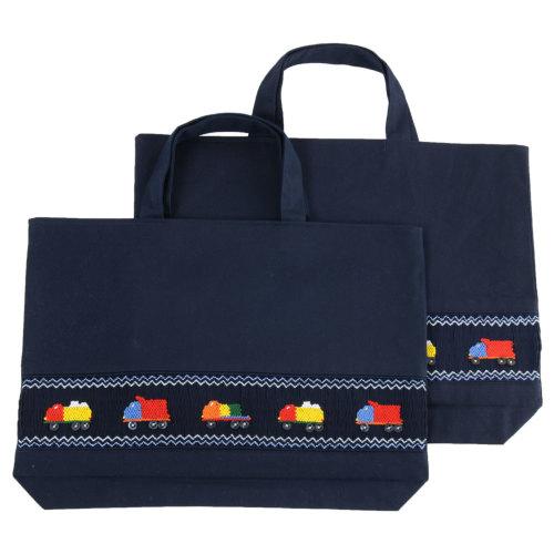 【手刺繍スモッキング】【トラック】紺色布製:レッスンバッグ