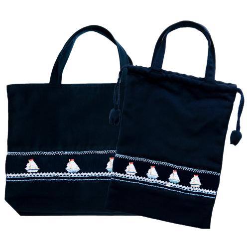 【手刺繍スモッキング】【ヨット柄】紺色布製:レッスンバッグ&巾着バッグセット