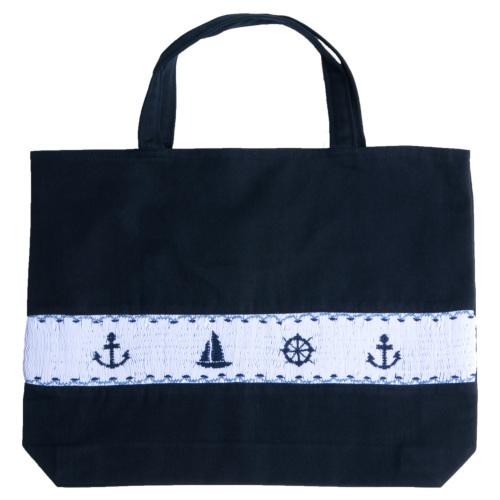 【手刺繍スモッキング】【マリン柄】紺色布製:レッスンバッグ