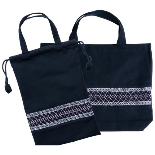 【手刺繍スモッキング】【ライン柄】紺色布製:レッスンバッグ&巾着バッグセット