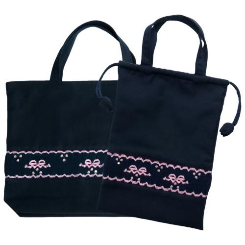 【手刺繍スモッキング】【リボン柄ピンクA】紺色布製:レッスンバッグ&巾着バッグセット