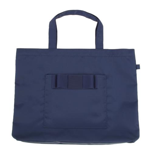 リボン付き 紺色布製 レッスンバッグ【小】