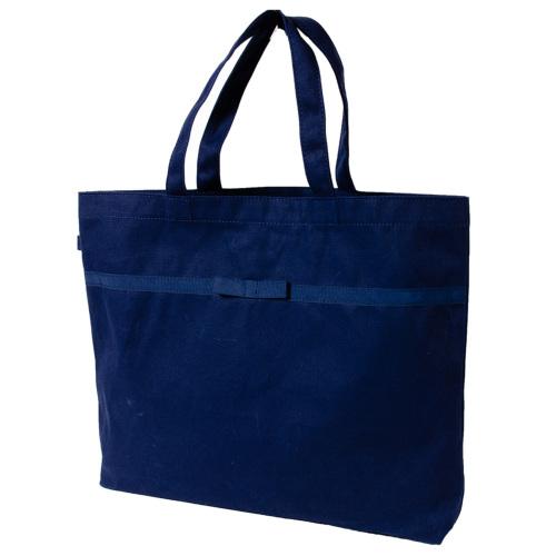 リボン付き 紺色布製 レッスンバッグ【大・お道具箱サイズ】