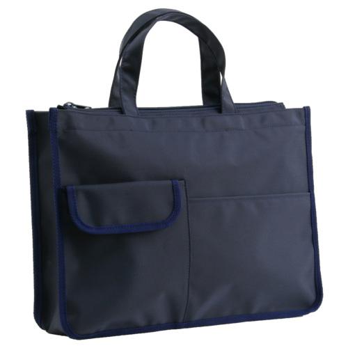 入口ファスナー付 紺色ナイロン製 レッスンバッグ