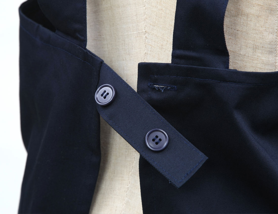 濃紺無地調理実習・書道工作用エプロン 綿ツイル 完全日本製 小学校高学年向きサイズ