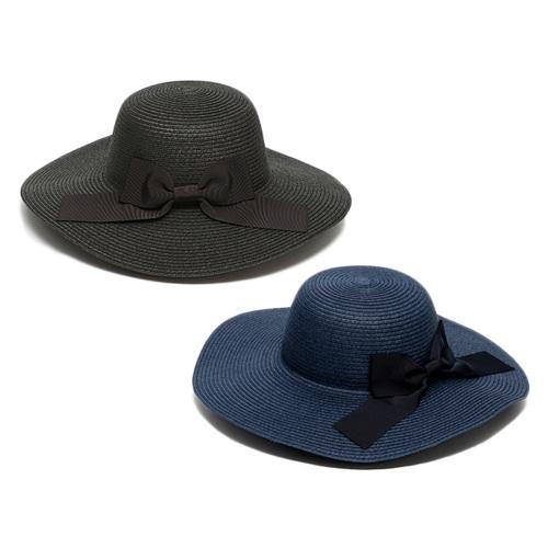 女優ママ帽 UVリボン帽子