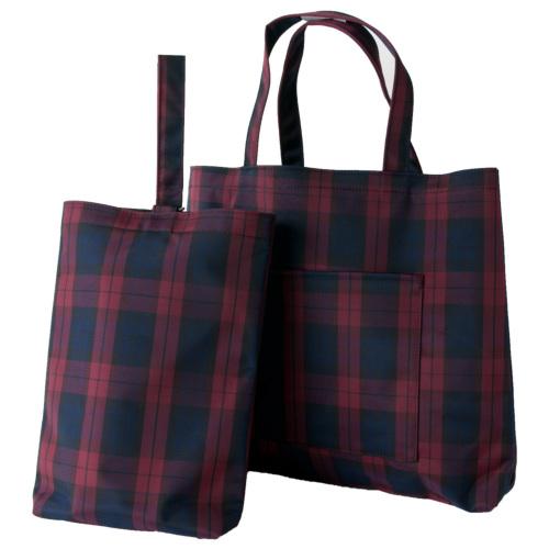 エスパニアチェック【レッド】ナイロン製レッスンバッグ(中)&シューズバッグ