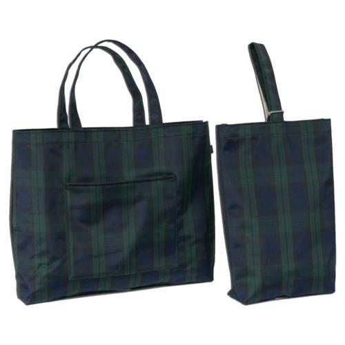 エスパニアチェック【グリーン】ナイロン製レッスンバッグ(大)&シューズバッグ