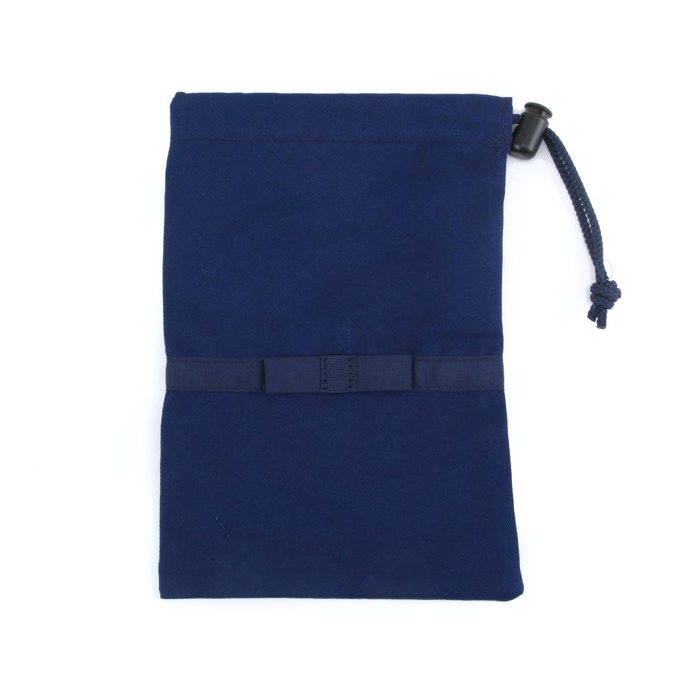 《リボン付き》紺色無地巾着袋【小】