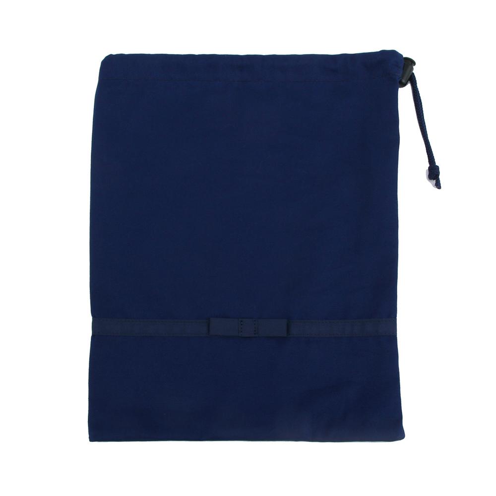 《リボン付き》紺色無地お着替え入れ巾着袋【中】