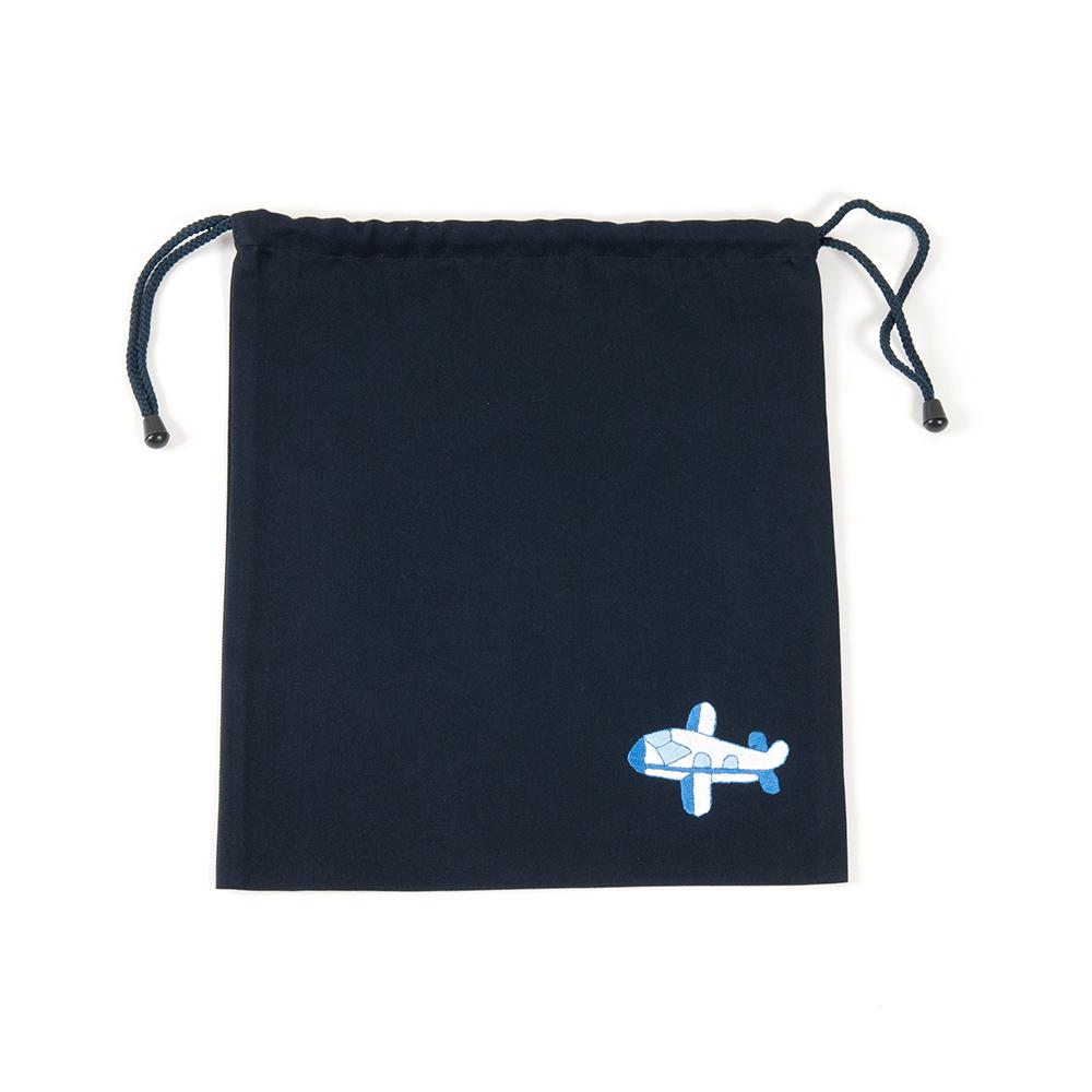 手刺繍【飛行機】巾着バッグ(中)