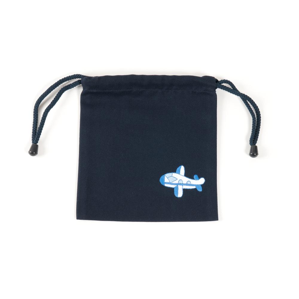 手刺繍【飛行機】巾着バッグ(小)