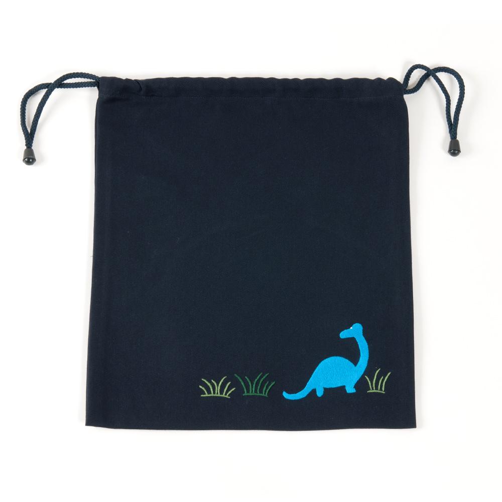 手刺繍【恐竜】巾着バッグ(大)