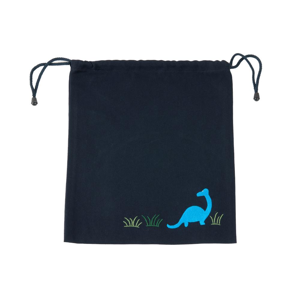 手刺繍【恐竜】巾着バッグ(中)
