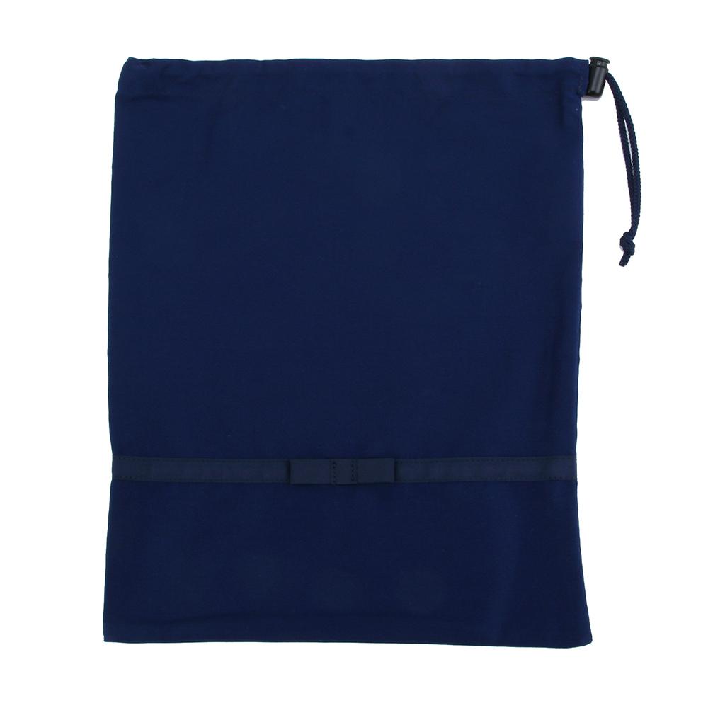 《リボン付き》紺色無地お着替え入れ巾着袋【大】