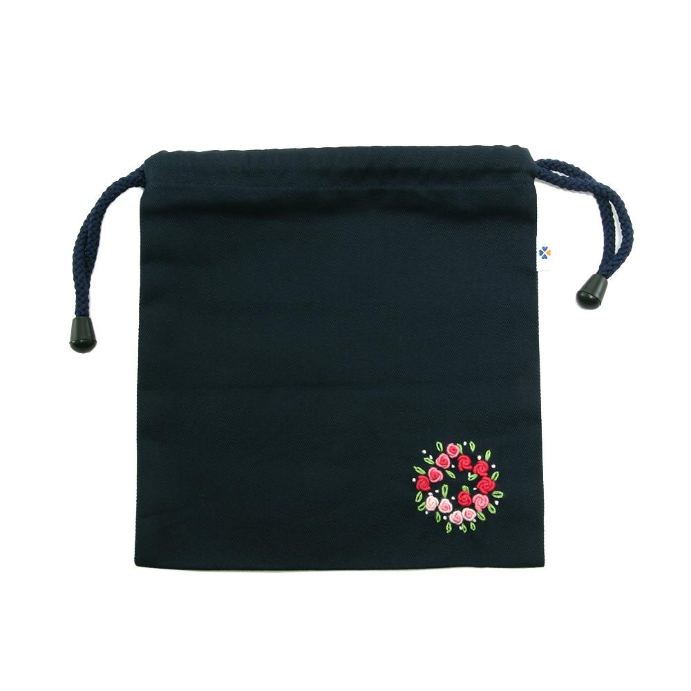手刺繍【フラワーリース】巾着バッグ(小)