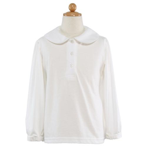 綿100%丸襟長袖ブラウス