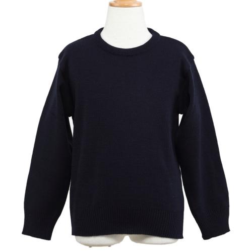 【ウォシャブル素材】お子様用紺色無地丸首セーター