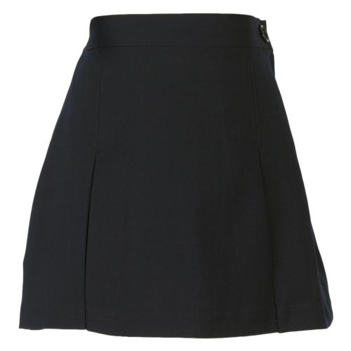 【黒色無地】ファスナー付 ボックスプリーツスカート