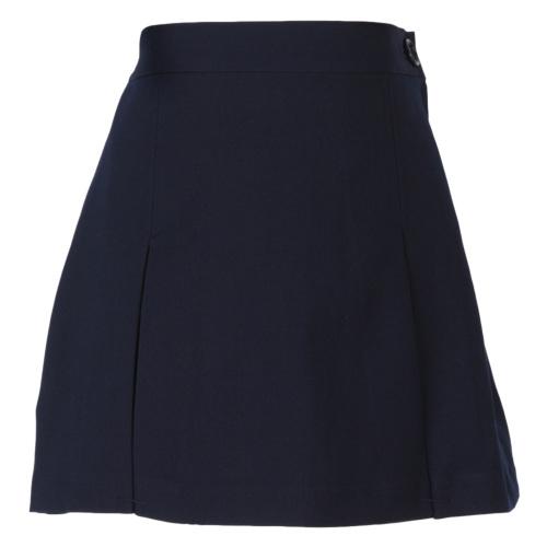 【紺色無地】ファスナー付 ボックスプリーツスカート