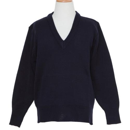 紺色無地Vネックウォッシャブルセーター